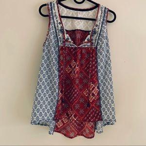 Xhilaration lace red & white tank blouse